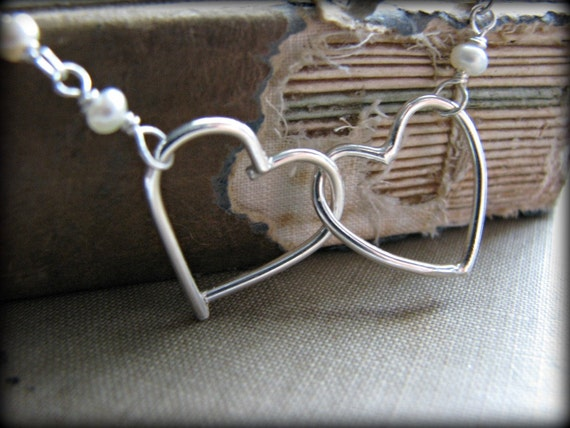 Hearts Floating Necklace Two 2 Linked  Hearts Entwined Love Necklace Sterling Silver Pearls Sisters Necklace