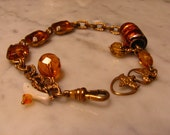 Vintage - Antique - Recycled - Repurposed - Watch Chain - Topaz Yellow -  Gold Jewels Bracelet