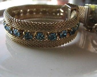 Vintage Aqua Blue Faceted Glass and Gold Mesh Bracelet