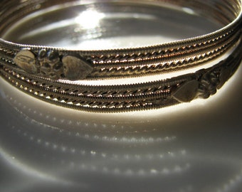 Vintage Ornate Silver Bangle Bracelets Set