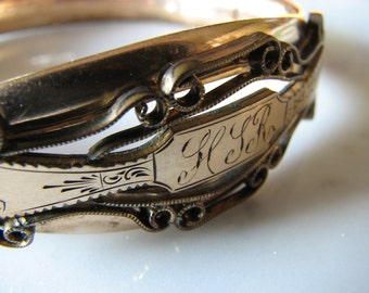 Victorian Bangle Bracelet Edwardian Early 1900s MH & Co Gold Filled Monogram Hinged