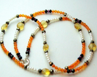 MADAGASCAR NECKLACE - vibrant and delicate necklace in carnelian, citrine, garnet, spinel, pearl and pyrite
