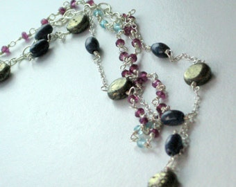 MARRAKESH NECKLACE- Jewel studded silver two tiered necklace with garnet, pyrite, sodalite and aquamarine - free shipping