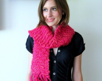 BETTY SCARF - hot pink fluffy cozy scarf hand knit in imported hand-dyed magenta 100% marino from Italy with metallic gold shimmer
