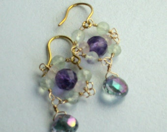 QUEEN ELIZABETH EARRINGS - striking renaissance stunners with mystic topaz, gold amethyst and prehnite - super sparkly