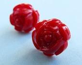 Red Rose Studs - Romantic Flower Earposts - Small