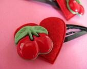 Cherry Hair Clips - Felt  Heart Rockabilly Clips