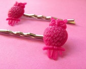 Set of 2 Owl Bobby Pins - Fuchsia Pink