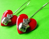 Hearts and Apples - Red Heart  and Apple Earrings