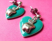 Hearts and Apple Studs - Teal Heart  and Apple Earposts