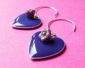 Hearts and Flower Hoops- Purple Heart Drop Charms and Czech Glass Bell Flower Earrings