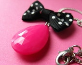 Pink Tear and Polka Dot Bow Necklace