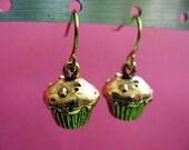 Cupcake Earrings - Brass Dangles