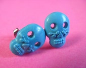 Blue Sugar Skull Studs - Mexican Style Ear Posts