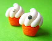 Sparkle Cupcake or Sundae Stud Earrings - Orange Ear Posts with Rhinestones