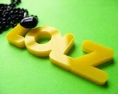 Laser Cut LOLZ Internet Language & Heart Necklace - Yellow Acrylic Pendant