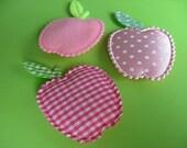 3 Pink Apple Magnets - Gingham - Dots - Plain