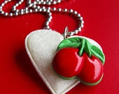 Cherry Love Pendant - Felt Heart Necklace - Red and White
