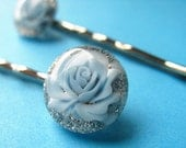 Glitter Rose Bobby Pins - Romantic Floral Hair Slides - Blue