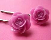 Rose Bobby Pins - Romantic Floral Hair Slides - Purple