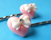 Heart & Bow Bobby Pins with Rhinestones - Peach Pink White