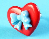 Large Heart & Polka Dot Bow Ring - Cute Adjustable Ring - Blue and Red
