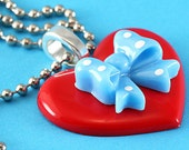 Heart & Polka Dot Bow Necklace - Large Kitsch Pendant - Red, Blue and White