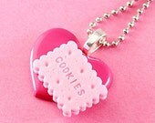 Heart & Cookie Necklace - Large Kawaii Pendant - Pink