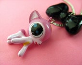 Dangle Deer and Bow - Kawaii Fawn Necklace - Pink