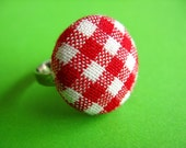 Red and White Gingham Ring - Fabric Covered Adjustable Ring