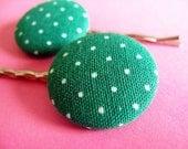 Green Polkadot Hair Pins - Fabric Covered Bobby Pins