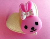 SALE - Kawaii Bunny Brooch - Cute Pin - Pink