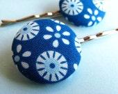 Tilda Mod Hair Pins - Set of 2 Fabric Covered Bobby Pins - Blue