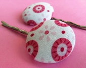 Tilda Mod Hair Pins - Set of 2 Fabric Covered Bobby Pins - White Pink Red