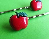 Red Apple Bobby Pins - Fruity Hair Slides