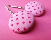 Pink Polkadot Hair Pins - Fabric Covered Bobby Pins