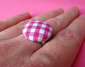 Pink and White Gingham Ring - Fabric Covered Adjustable Ring