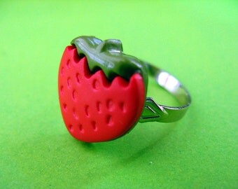 Red Strawberry Ring - Adjustable Fruit Ring