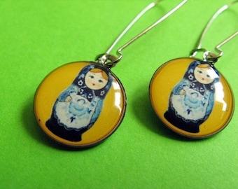 Little Matryoshka - Russian Doll Kidney Wire Earrings - Yellow