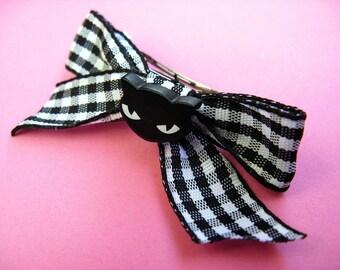 Black Cat Barrette - Gingham Bow