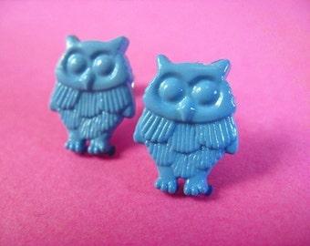 Blue Owl Stud Earrings - Surgical Steel Woodland Bird Ear Posts