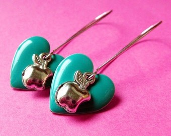 Hearts and Apples - Teal Heart  and Apple Earrings