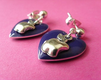 Hearts and Apple Studs - Purple Heart  and Apple Earposts