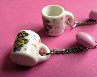 Coffee Monkeys - Kawaii Miniature Mug Earrings