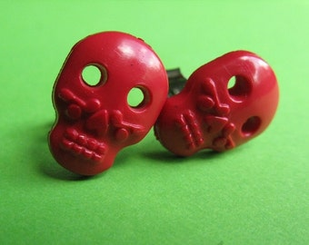 Red Sugar Skull Studs - Mexican Style Ear Posts