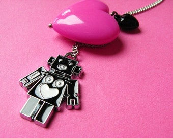 Robot Love Necklace - Heart and Robot - Pink and Black