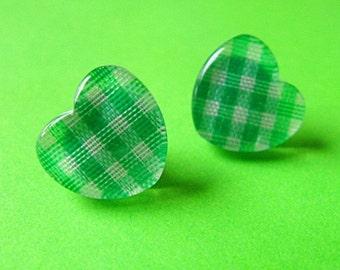 Green Checkered Gingham Heart Stud Earrings - Resin Ear Posts