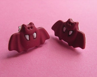 Dark Pink Bat Stud Earrings - Halloween Ear Posts
