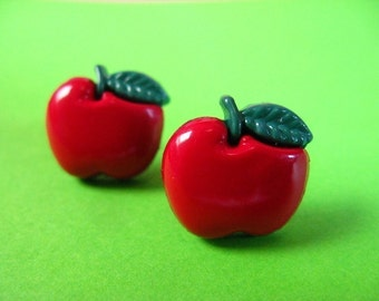 Red Apple Stud Earrings - Surgical Steal Ear Posts