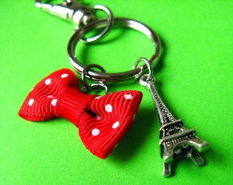 Eiffel Tower and Polka Dot Bow  Keychain or Bag Hanger - Paris